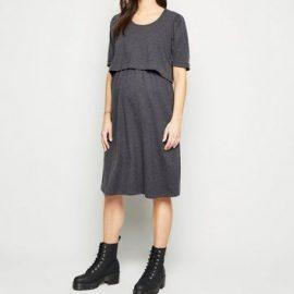 Maternity Dark Grey Short Sleeve Midi Nursing Dress New Look at New Look UK