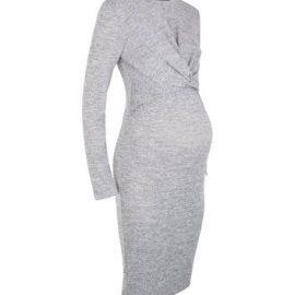 Maternity Grey Fine Knit Twist Nursing Dress New Look at New Look UK