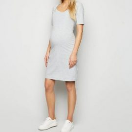 Maternity Grey Jersey Nursing Dress New Look at New Look UK