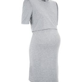 Maternity Grey Puff Sleeve Nursing Dress New Look at New Look UK