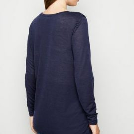 Maternity Navy Long Sleeve Wrap Nursing Top New Look at New Look UK
