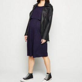 Maternity Navy Short Sleeve Midi Nursing Dress New Look at New Look UK