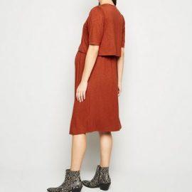 Maternity Rust Short Sleeve Midi Nursing Dress New Look at New Look UK