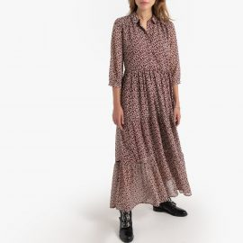 Maxi Shirt Dress in Floral Print with Long Sleeves at La Redoute