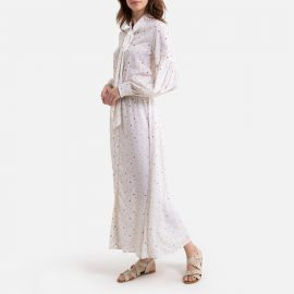 Maxi Shirt Dress with Pussy Bow in Floral Print at La Redoute