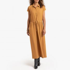 Maxi Shirt Dress with Tie-Waist at La Redoute