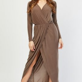 Maxi Wrap Plunge Dress at Everything 5 Pounds