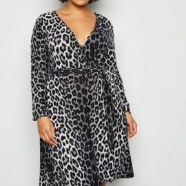 Mela Curves Light Grey Leopard Print Wrap Dress New Look at New Look UK