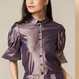 Metallic Lilac Puff Sleeve Shirt at Closet London