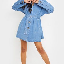 Mid Blue Wash Tortoise Button Tie Waist Denim Shirt Dress