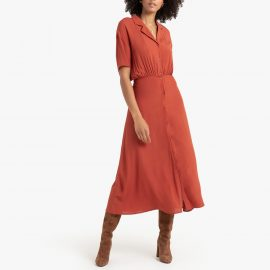 Midi Shirt Dress with Short Sleeves at La Redoute