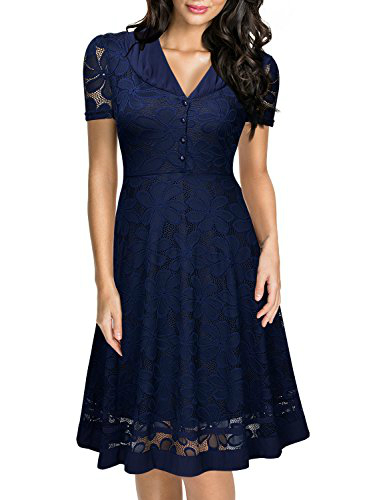 Miusol Deep V Neck Lace A Line Swing Dress, Navy