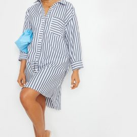Monochrome Stripe Step Hem Shirt Dress