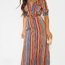 Multi Printed Stripe Short Sleeve Maxi Shirt Dress