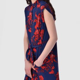Navy and Red Floral Tie Belt Shirt Dress at Closet London