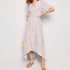 New Look Floral Hanky Hem Midi Wrap Dress