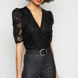 New Look Lace Puff Sleeve Wrap Bodysuit