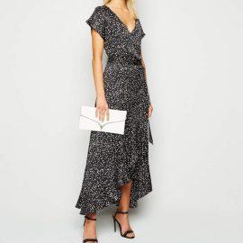 New Look Satin Spot Ruffle Wrap Midi Dress