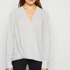 New Look Stripe Long Sleeve Wrap Blouse