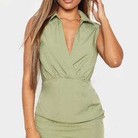 Olive Khaki Sleeveless Ruched Drape Shirt Dress