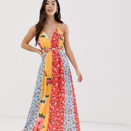 Parisian Petite wrap front maxi dress in mixed floral print