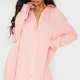 Peach Pleated Oversized Shirt Dress