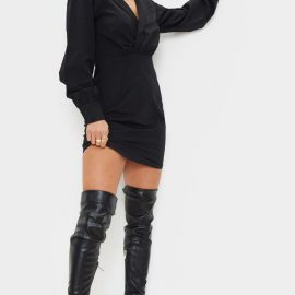 Petite Black Button Front Plunge Shirt Dress
