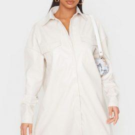 Petite Cream Oversized PU Shirt Dress