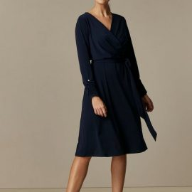 Petite Navy Belted Jersey Wrap Midi Dress