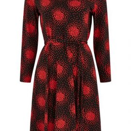 Petite Red Heart Print Wrap Dress