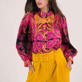 Pink Paisley Print Puff Sleeve Buttoned Shirt at Closet London