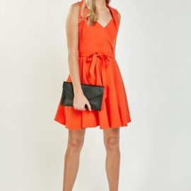 Pleated Wrap Skater Dress at Everything 5 Pounds