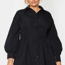 Plus Black Woven Corset Bust Detail Shirt Dress