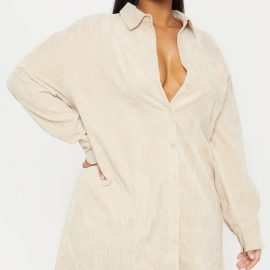 Plus Camel Corduroy Oversized Shirt Dress