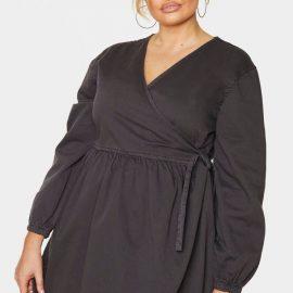 Plus Charcoal Wrap Detail Denim Dress