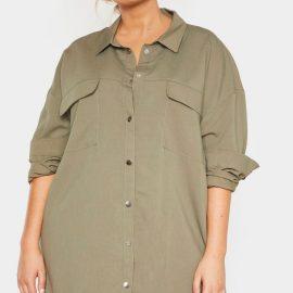 Plus Khaki Cargo Oversized Popper Front Shirt Dress