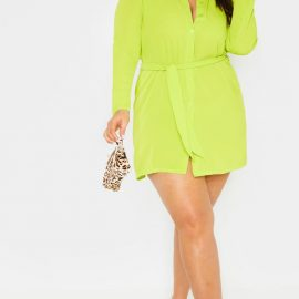 Plus Neon Lime Tie Waist Shirt Dress