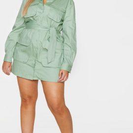 Plus Sage Green Utility Shirt Dress