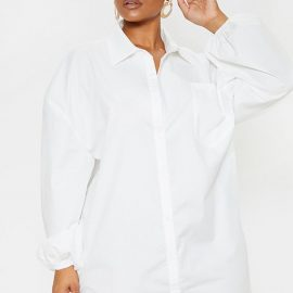 Plus White Oversized Puff Sleeve Shirt Dress