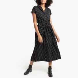Polka Dot Shirt Dress with Tie-Waist at La Redoute