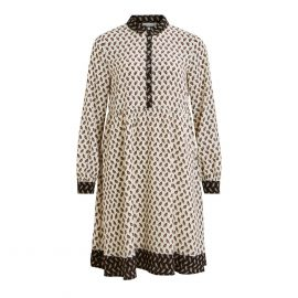 Printed Short Flared Shirt Dress with Long Sleeves at La Redoute