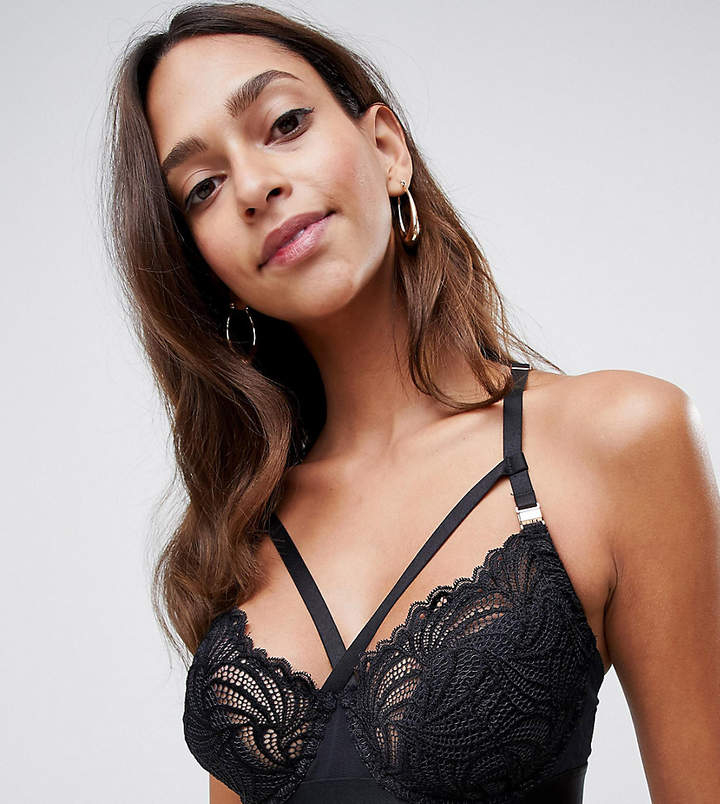 Project Me Projectme Nursing Warrior lace strapping flexi wire balconette bra in black