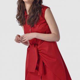 Red Sleeveless Tie Front Shirt Dress at Closet London