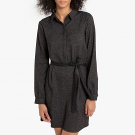 Ronel Fitted Flannel Shirt Dress with Tie-Waist and Long Sleeves at La Redoute