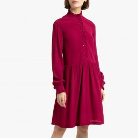 Ruffled Full Shirt Dress with Long Sleeves at La Redoute