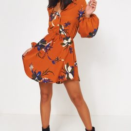 Rust Floral Mini Shirt Dress at The Fashion Bible