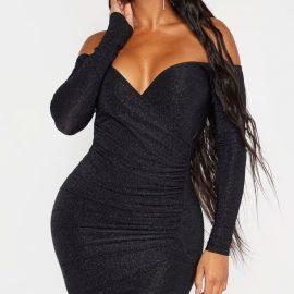 Shape Black Textured Slinky Bardot Wrap Bodycon Dress