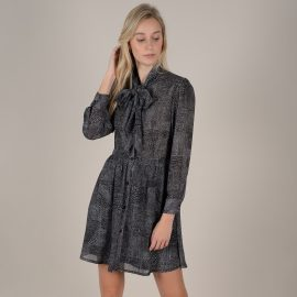 Short Printed Shirt Dress in Camouflage Print with Pussy-Bow at La Redoute