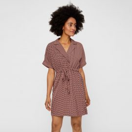 Short Wrapover Shirt Dress in Graphic Print at La Redoute