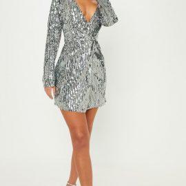 Silver Sequin Plunge Wrap Bodycon Dress